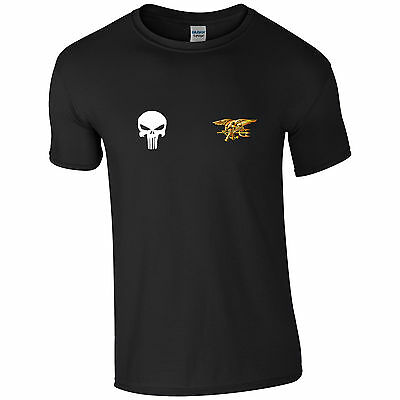 US Navy SEALs US Army Special Forces Punisher Skull Mens Ringspun Cotton Tshirt