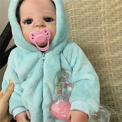 "22"" Handmade Lifelike Full Body Silicone vinyl Reborn Baby Boy Doll kids Gifts A"