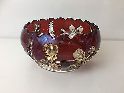 Large Retro Red Glass Fruit Bowl With Gold Floral Detail