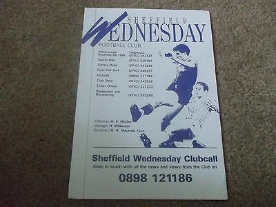 Sheffield Wednesday V Sheffield United Reserves Central League 31St August 1988