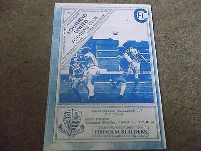 Southend United V Grays Athletic Essex Senior Challenge Cup 25Th October 1989