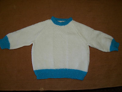 New Hand Knitted Jumper White With Teal Bands    2 -3   Years Approx