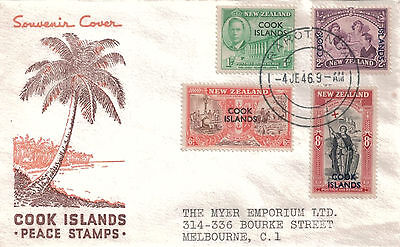 COOK ISLANDS - Illustrated First Day Cover 1946 Peace