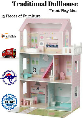 Doll House Large Childs Traditional Set Pretend Play Dollhouse Toddler Furniture