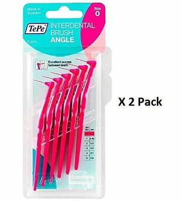 Tepe Angle Interdental Brush - Pink - 6 Brushes Per Pack x 2 Pack