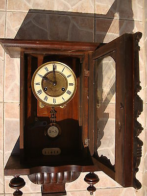 Antique Vintage JUNGHAUS Wood Wall Clock Chime Vienna Style Pendulum&Key WORKS