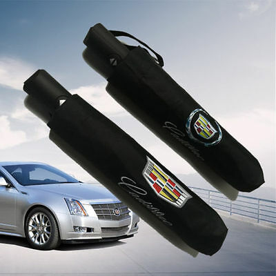 Cadillac Car Logo Black Windproof Anti Sun Compact Folding Automatic Umbrella