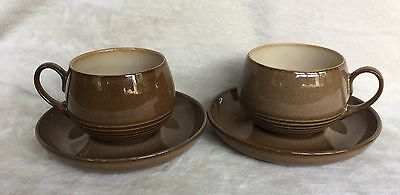 2 X Denby Pampas Cups & Saucers Very Good Condition