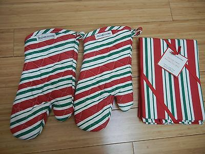 New Williams Sonoma Christmas  2 Oven Mit And 2 Dish Towels .