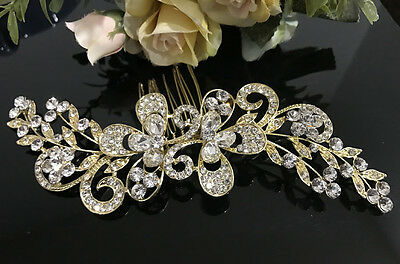 New arrival wedding bridal crystal rhinestone GOLD tone hair comb ha3205