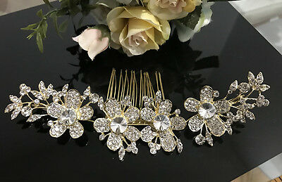Gold tone hair comb bridal wedding crystal rhinestone hair accessories ha3204