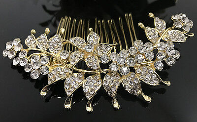 Gold tone hair comb bridal wedding crystal rhinestone hair accessories ha3203