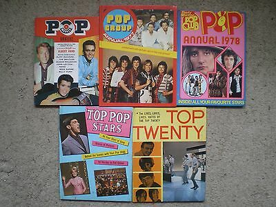 5 POP MUSIC ANNUALS FROM 1960's & 1970's - BEATLES, STONES, KINKS, BAY CITY