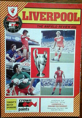 Liverpool V Dinamo Bucharest 11/4/1984 European Cup Semi Final