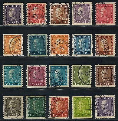 SWEDEN Sc# 167 // 190 (20) Used King Gustaf V (1921-1936) Postage