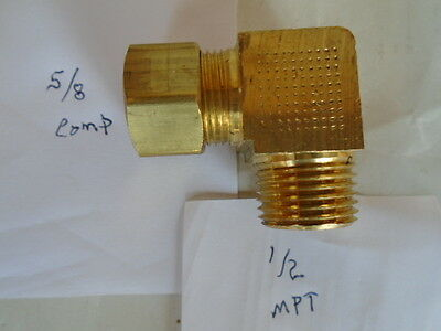5/8 Comp X 1/2 Mpt Ell Elbow Brass Fittiing Comp X Mpt Compression Unused