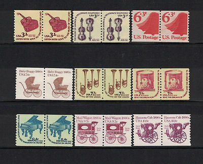 US 1974-1981: 9 MNH Fractional Value Coil Pairs#1518/1903;Music,Wagon-Lot#5/31