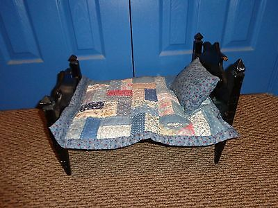 Vintage Black Painted Wood Doll Bed with Quilt & Pillow
