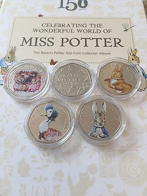 Full Set Of Uncirculated Coloured Beatrix Potter 50p Coins In Capsules