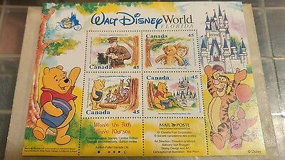WINNIE THE POOH CANADIAN  POSTAGE STAMP SHEET, Walt Disney World Florida