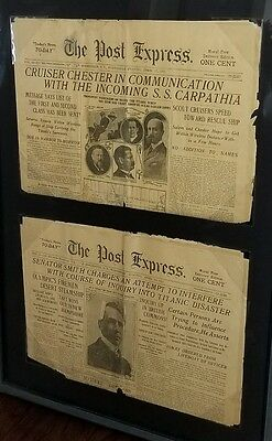 Titanic Original Newspapers April 1912 (2 framed) The Post Express Rochester N.Y