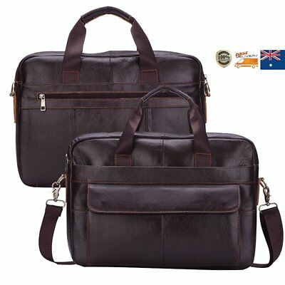 Men's Genuine Cowhide Leather Business Briefcase Retro Handbag Laptop Bags Tote