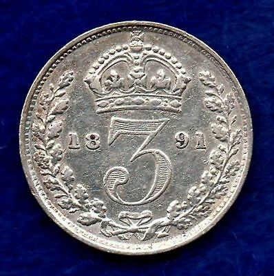 Great Britain, Victoria, 1891 Threepence (Ref. c5868)