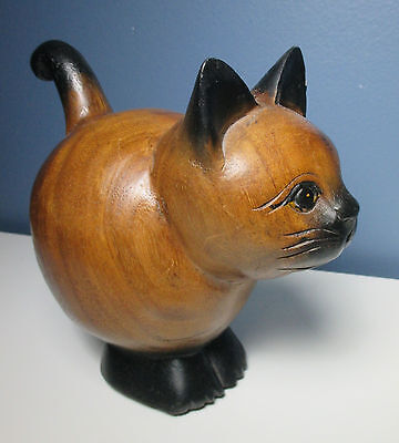 """Vintage ? Solid Wood Hand Carved CAT Kitten Collectible Figure 7"""" Tall x 7"""" Long"""