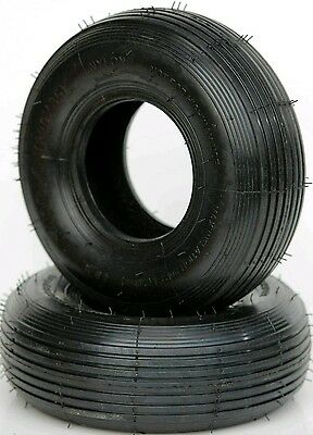 2 x Black Ribbed tread Tyres  3.00-4 - 220x85 For Mobility Scooter 30PSI