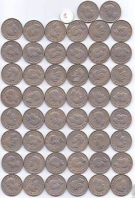 50 COINS GEORGE VI CUPRO FLORIN TWO SHILLINGS (mixed dates & grades)