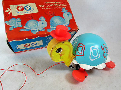 Vintage 1962 Fisher Price Tip Toe Turtle pull toy #773 with box