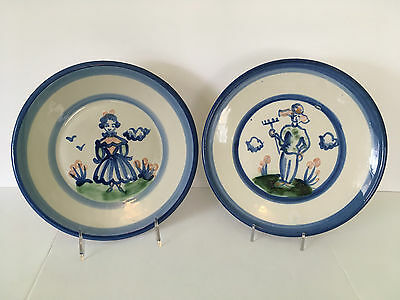"""M.A. Hadley Handcrafted American Pottery Man & Woman 9"""" Plates / Dishes"""