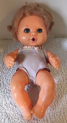 """Vintage Collectible Ideal Toy 1974 Thumbelina Blonde 6.5"""" Baby Doll With Bottle"""