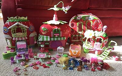 Strawberry Shortcake BERRY BITTY 6 DOLLS CAFE MARKET, CLUBHOUSE CASE Accessories