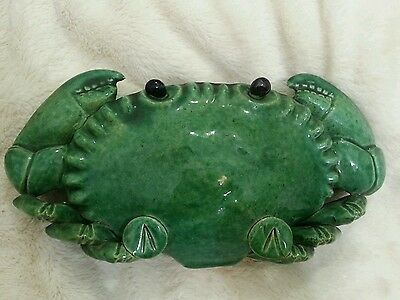 VERY RARE Chinese Ceramic Crab Wall Pocket Vase Green Signed Large 19th Century?