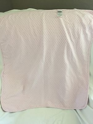 ABSORBA Light Pink Brown Dots ELEPHANT Knit Baby Receiving BLANKET HTF