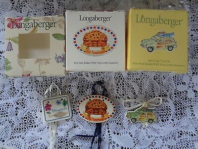 Longaberger Basket Ceramic Tie On x 3!!  Utensils, All American and Surf's Up!!