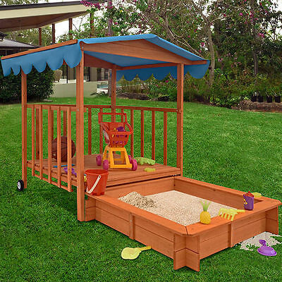 Kids Sand Pit Box Outdoor Children Wood Play House Large Roof Sun Protect Garden
