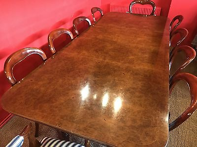 8.6ft STUNNING BURR WALNUT REGENCY STYLE DINING TABLE, PRO FRENCH POLISHED