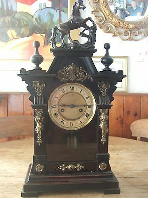 Antique (1900) Continental Striking Bracket Clock And Mahogany Wall Bracket