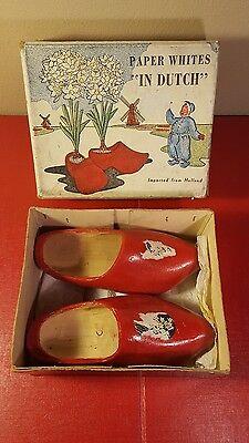 """Pair of Large Wooden Shoes from Holland Wood Hand Carved & Painted 8"""""""