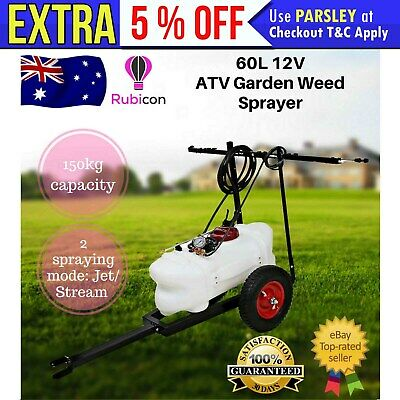 60L12V Garden Weed Sprayer ATV Pump Tank Spray Boom Trailer Spot Wand Farm Unit