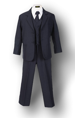 Boys Navy Suit (Sizes 2T-20) - Little Kids Toddler Formal Occasion Dress Wear