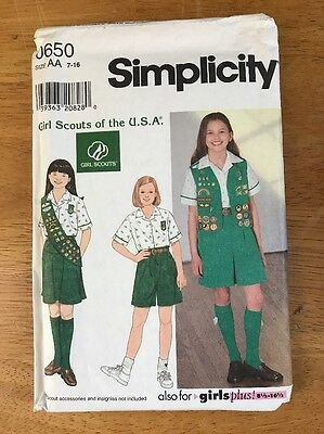 Girls Scouts Of The USA size AA 7-16 SIMPLICITY GIRL SCOUT UNIFORM PATTERN