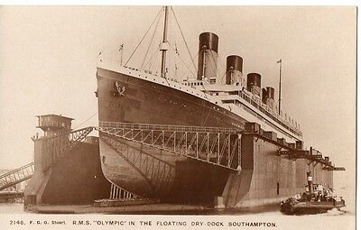 """R.M.S.Olympic,in the Floating Dry Dock,Southampton""Photograph by F.G.O.Stuart"