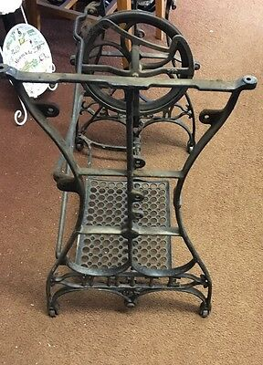 Antique WHITE Cast Iron Treadle Sewing Machine Stand Base