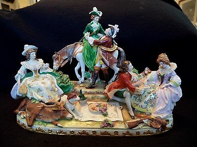 Dresden porcelain china figural group stag hunting men women horse deer dog gun