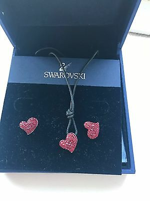Swarovski Red Heart Necklace And Earrings