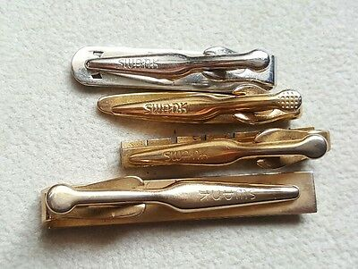 Vintage Lot of 4 Gold Tie Bar Clips- Swank