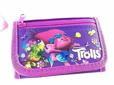 Brand New Dreamworks Trolls Wallet Tri Fold Kids Authentic Licensed NWT- Purple